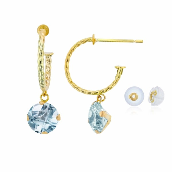 8888767b6 14K Yellow Gold 12mm Rope Half-Hoop with 6mm Round Aquamarine Martini Drop  Earring with