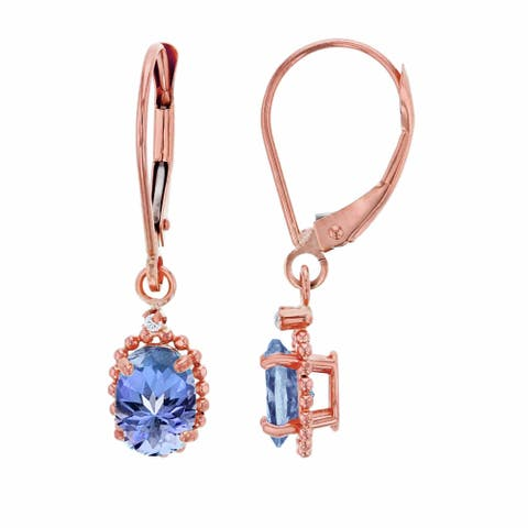 10K Rose Gold 1.25mm Round Created White Sapphire & 6x4mm Oval Tanzanite Bead Frame Drop Leverback Earring