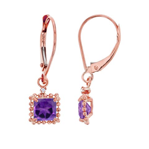 14K Rose Gold 1.25mm Round White Topaz & 5mm Square Amethyst Bead Frame Drop Leverback Earring