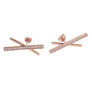 Eternally Haute 14k Rose Gold Plated Pave 'X' Ear Climbers