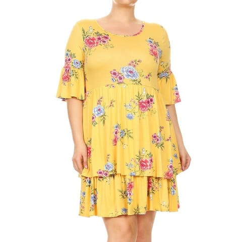 Women's Plus Size Floral Pattern Babydoll Dress