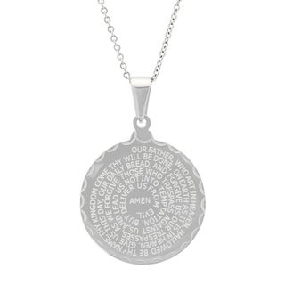 Piatella Ladies Double-Sided Stainless Steel Lord's Prayer and Serenity Prayer Pendant in 3 Colors