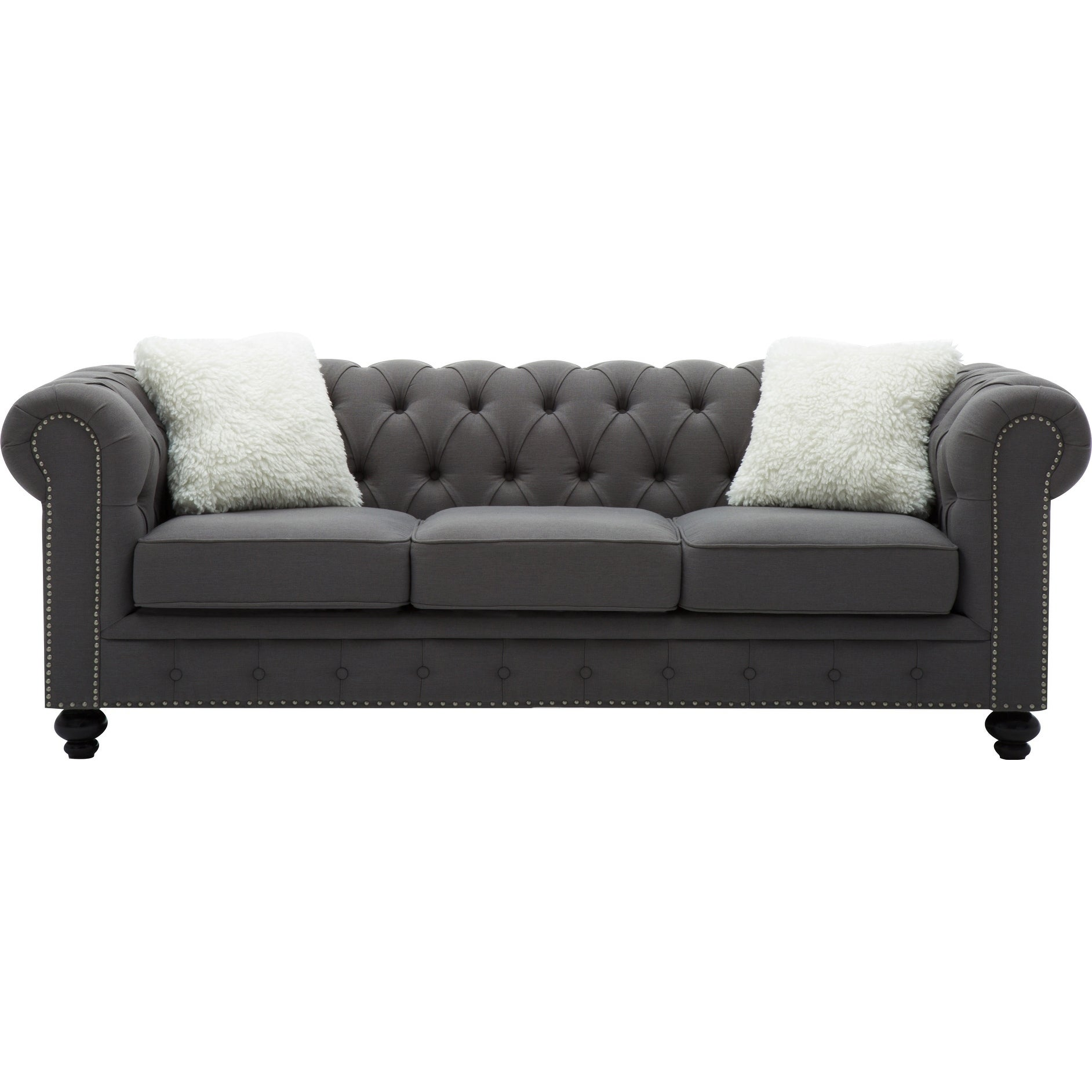Best Quality Furniture Grey Chesterfield Sofa With Accent Pillows - Overstock - 20537796