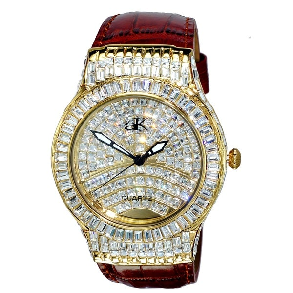 Adee Kaye Mens Crystal & leather Watch-Gold tone