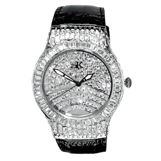 Adee Kaye Mens Crystal & leather Watch-Silver tone