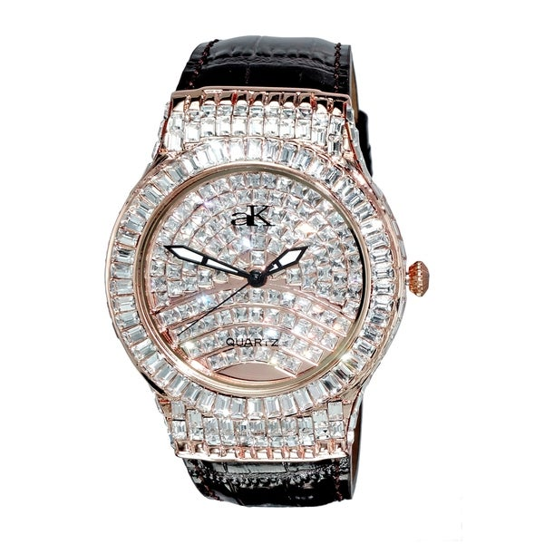Adee Kaye Mens Crystal & leather Watch-Rose tone