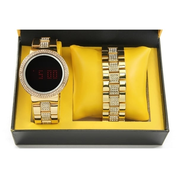 Charles Raymond Men's / Unisex Iced Out Bling Gold Metal Touch Screen Watch With Matching Iced Out Gold Bracelet - 8166 Gold
