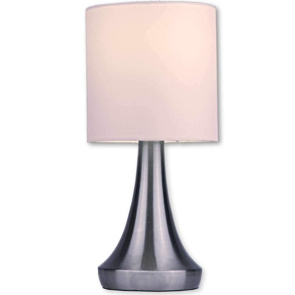"Light Accents Touch Table Lamp 13"" Tall with 3-Stage Dimmer and White Fabric Drum Shade (2-Pack)"