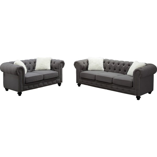 Shop Best Quality Furniture Grey Chesterfield Sofa And Loveseat Set
