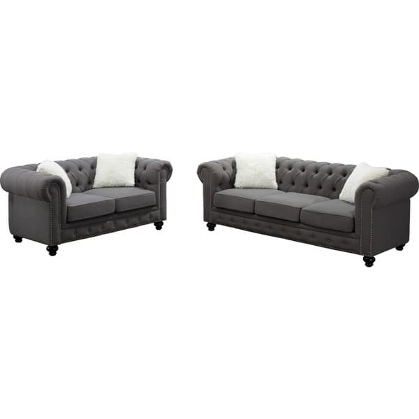 Shop Best Quality Furniture Grey Chesterfield Sofa and ...