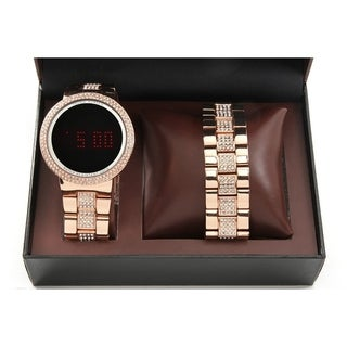 Charles Raymond Men's / Unisex Iced Out Bling RoseGold Metal Touch Screen Watch With Matching Iced Out RoseGold Bracelet -8166RG