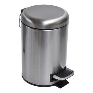 Evideco Soft Close Small 3-liter Round Metal Bathroom Floor Step Waste Bin
