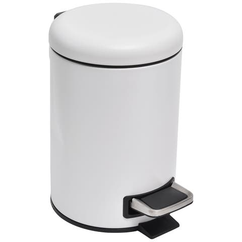 Evideco Soft Close Small Round Metal Bathroom Floor Step Trash Can