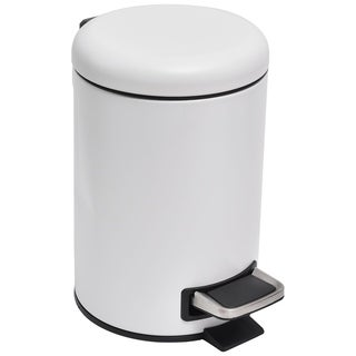 Evideco Soft Close Small Round Metal Bathroom Floor Step Trash Can Waste Bin 3-liters/0.8-gal White