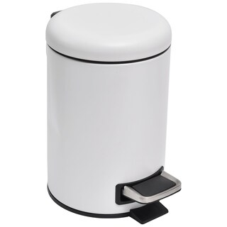 Evideco 3-liter White Small Metal Step Trash Can