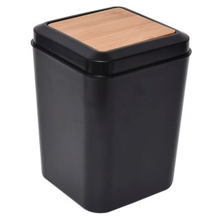 Evideco Collection Phuket Square Trash Can -Top Swing Lid Black-Bamboo 5-liters/1.3-Gal