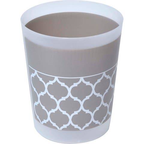 "Evideco Escal Printed Floor Trash Can Bin Waste Basket - Taupe, Beige, White - 7.68""L x 7.68""W x 9.45 inchesH"
