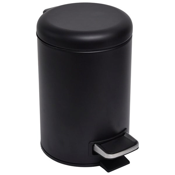 Shop Evideco Soft Close Small Round Metal Bathroom Floor Step Trash Can Waste Bin 3-liters/0.8