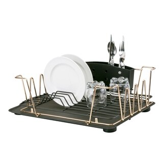 Macbeth Collection 3 Piece Contemporary Dish Rack Set in Rose Gold - Pink