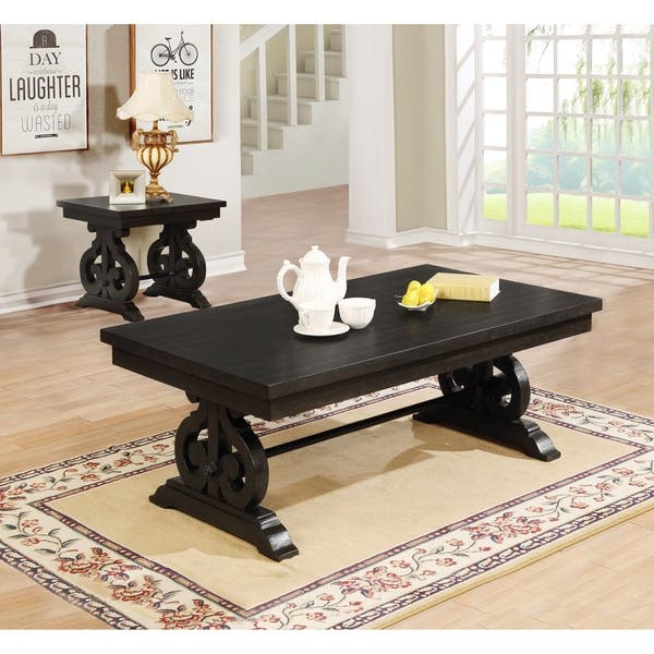 Cappuccino Coffee Table Set.Shop Best Quality Furniture Rustic Cappuccino 2 Piece Coffee And End