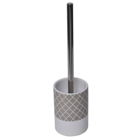 """Escal Bath Free Standing Toilet Bowl Brush and Holder Taupe - 3.70""""L x 3.70""""W x 14.20""""H"""