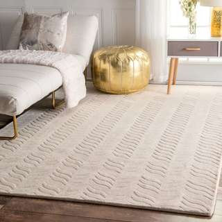 nuLOOM Hand-woven Abstract Fancy Wool Ivory Area Rug (6' x 9')