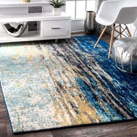 Clay Alder Hillsboro Modern Abstract Vintage Blue Area Rug (8' Square) - 8' x 8'