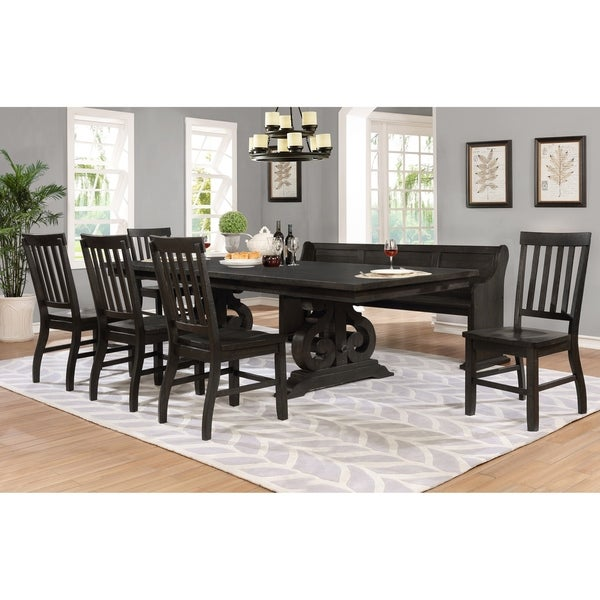 Best Quality Furniture 7 Piece Rustic Cappuccino Dining Set With Bench