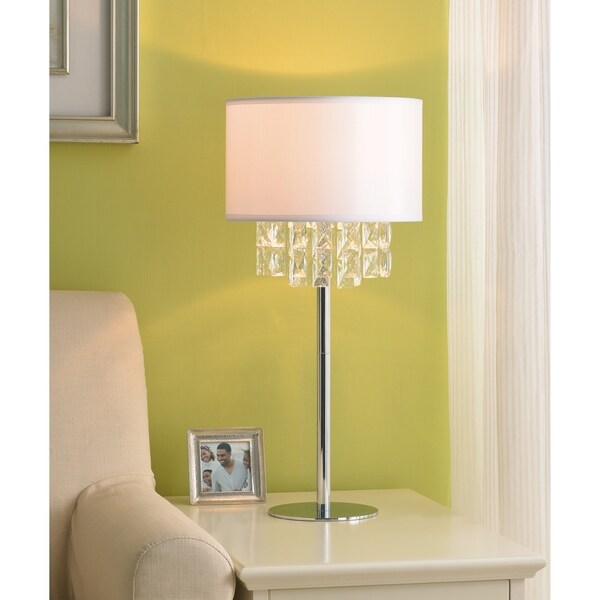 """Marilyn 29.5"""" Table Lamp - Chrome with Crystal Accents"""