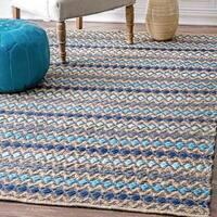 nuLOOM Handmade Flatweave Natural Fiber Jute Diamond Stripes Blue Area Rug - 6' x 9'