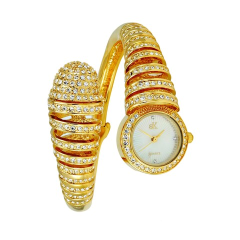 Adee Kaye Womens Spring Bangle Crystal Adorned Watch-Gold tone