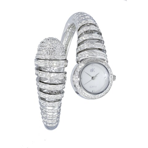 Adee Kaye Womens Spring Bangle Crystal Adorned Watch-Silver tone
