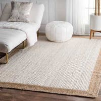 The Gray Barn Eagle's Nest Braided Reversible Jute White Area Rug (9' x 12') - 9' x 12'