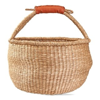 TAG Seagrass Basket with Faux Leather Handle