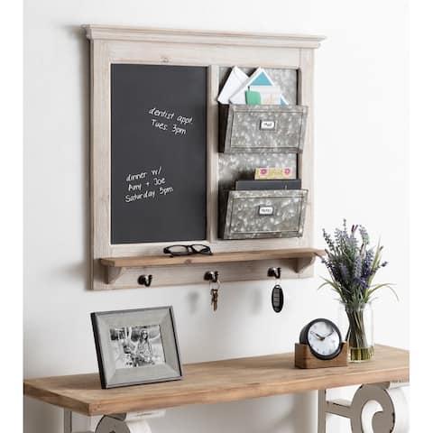 Kate and Laurel Idamae Wood Framed Chalkboard Wall Organizer - 28x25