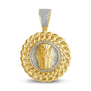 Unending Love 10k Yellow Gold Men's 3/8 ctw Diamond (I-J Color, I2-I3 Clarity) Fashion Charm Pendant