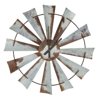 "Kate and Laurel Millbrook 32"" Windmill Metal Clock"