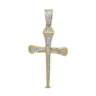 Unending Love 10k Yellow Gold Men's 1/8 ctw Diamond (I-J Color, I2-I3 Clarity) Fashion Cross Pendant