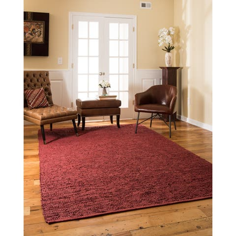 Natural Area Rugs Handmade Reversible Soriano Leather Rectangle Rug (6'X9') Red - 6' x 9'