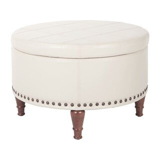 Ave Six Faux Leather Alloway Storage Ottoman with Antique Bronze Nailheads