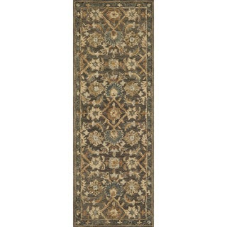 "Hand-hooked Traditional Taupe/ Gold Floral Wool Runner Rug - 2'6"" x 7'6"" Runner"