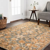 Hand-hooked Traditional Grey/ Gold Floral Wool Runner Rug - 2'6 x 7'6