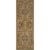 Hand-hooked Traditional Grey/ Taupe Floral Wool Runner Rug - 2'6 x 7'6