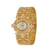 Adee Kaye Womens MOP & Crystal Spring Bangle Watch-Gold tone