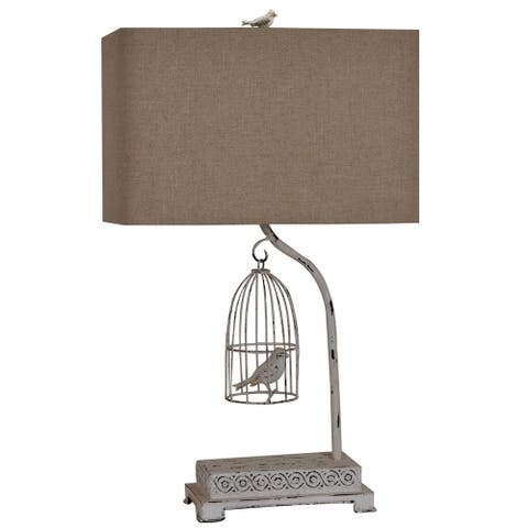 Birdsong White Wash 28-inch Table Lamp