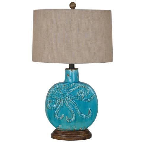 Deep Ocean Antique Turquoise 25-inch Table Lamp