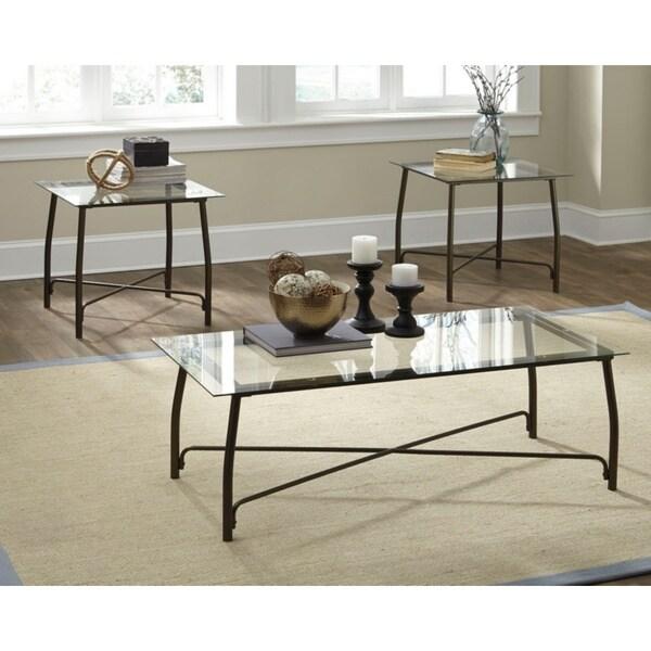 Burmesque Contemporary Bronze 3-Piece Table Set