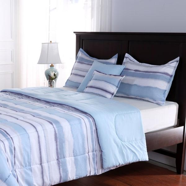 Watercolor Stripe 5 Piece Comforter Set
