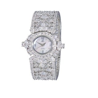 Adee Kaye Womens MOP & Crystal Spring Bangle Watch-Silver tone