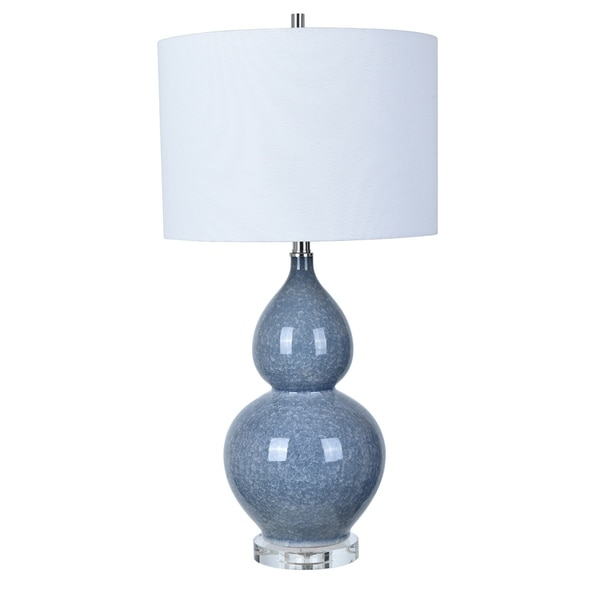 Vincent Blue Lead Crystal Base 30-inch Table Lamp